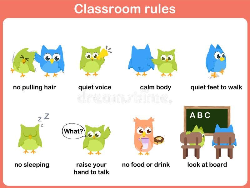 Klaslokaalregels voor jonge geitjes stock illustratie