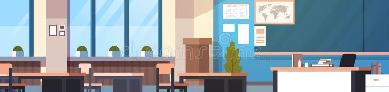 Klasowego pokoju Wewnętrznego Horyzontalnego sztandaru Pusta Szkolna sala lekcyjna Z deską I biurkami royalty ilustracja