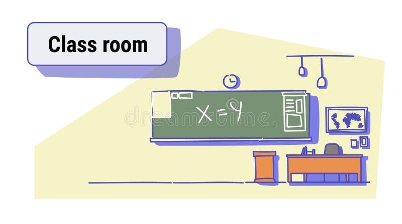 Klasowego pokoju wnętrza pusta szkolna sala lekcyjna z chalkboard i biurka kolorowym nakreśleniem doodle horyzontalnego ilustracja wektor