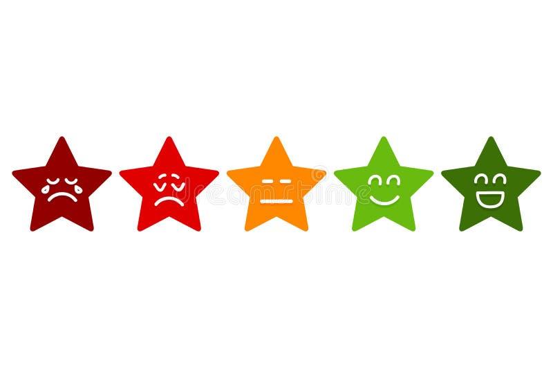 Klassa för fem Smilies stjärnor Emoticonsmaterielvektor vektor illustrationer