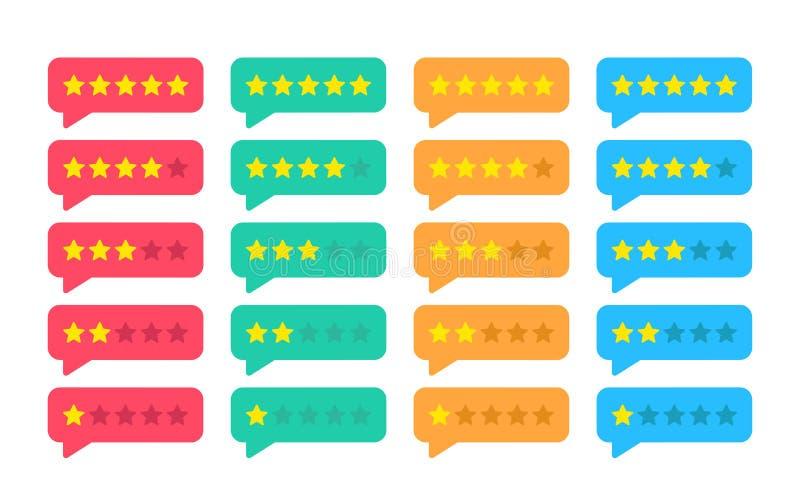 Klassa stjärnaemblem Återkoppling eller värdering Rang nivå av tillfredsställelsevärderingen För kundprodukt för fem stjärnor gra royaltyfri illustrationer