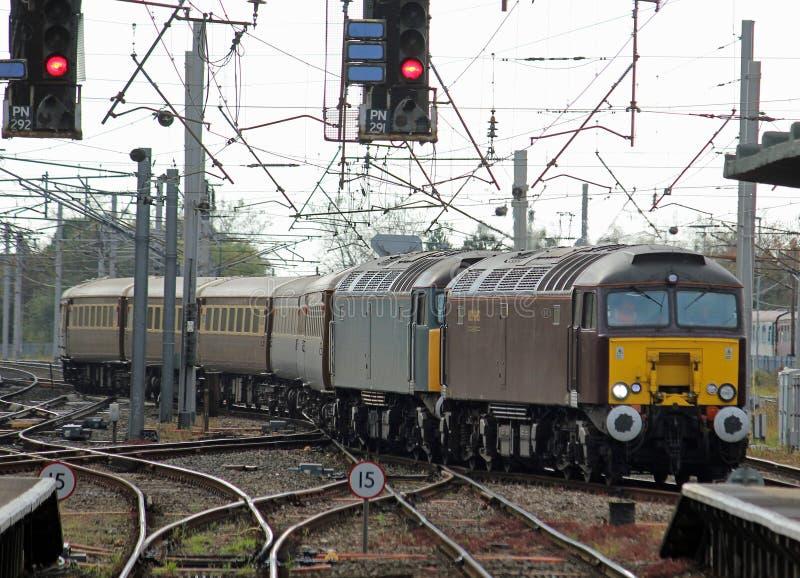 Klasse 57 diesel locomotieven in Carnforth royalty-vrije stock afbeeldingen