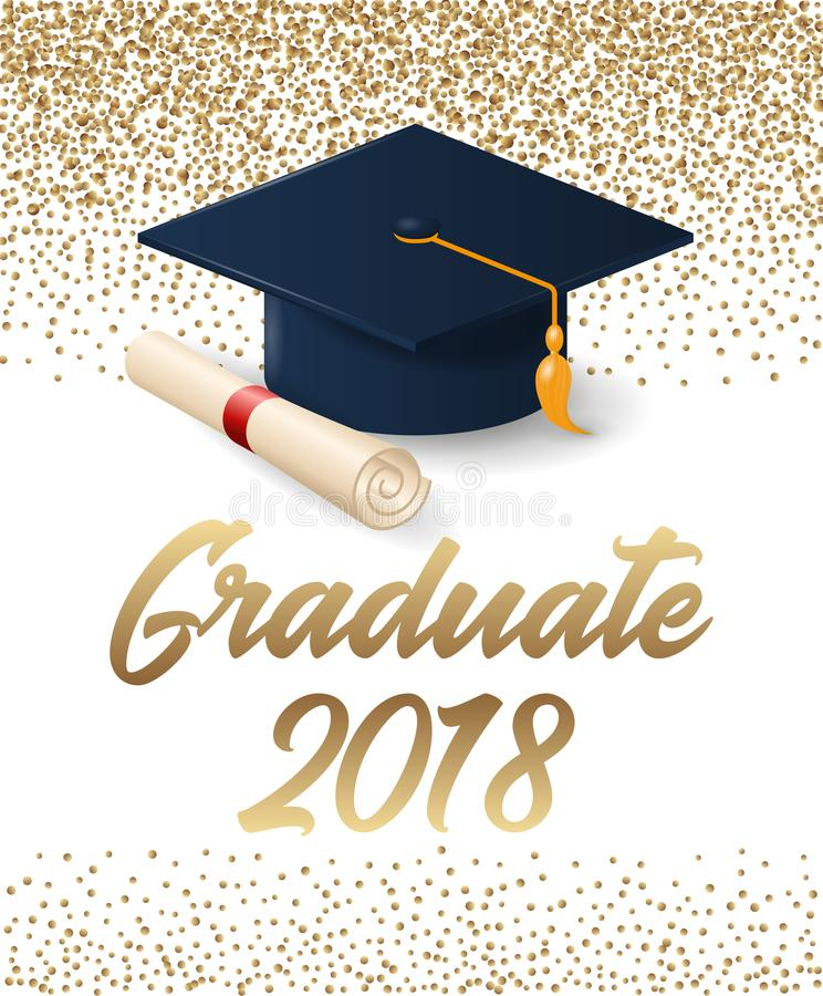 Klasse van de graduatieaffiche van 2018 met hoed en diplomarol stock fotografie