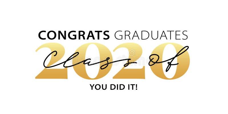 Klasse van 2020 Gecumuleerd Moderne kalligrafie Logo met letters Jaarboek gediplomeerd ontwerp Vectorillustratie vector illustratie