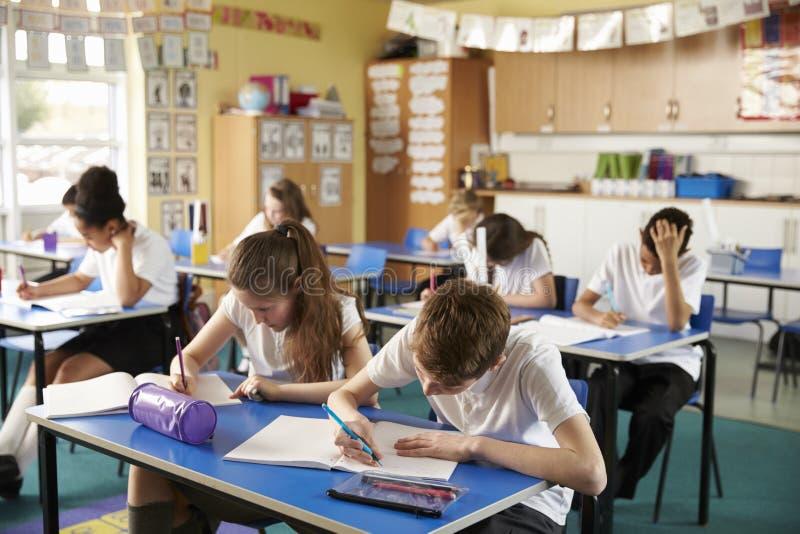 Klasse van lage schooljonge geitjes die in een klaslokaal bestuderen stock afbeeldingen