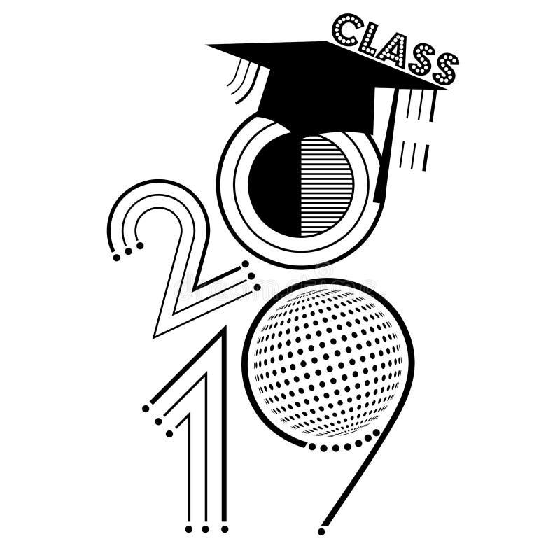 Klasse van 2019 in zwart-wit stock illustratie