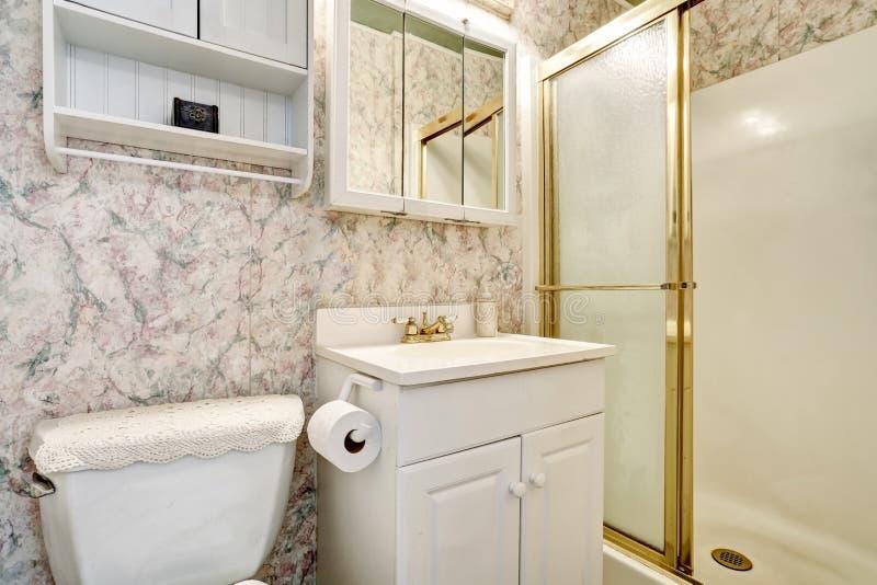 Klassiek Amerikaans badkamersbinnenland met ijdelheidskabinet en toilet stock foto