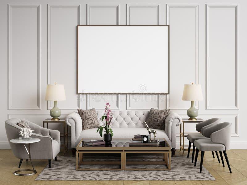 Klassiek binnenland Bank, stoelen, sidetables met lampen, lijst met decor vector illustratie