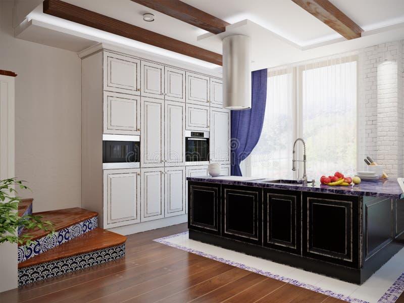 Klassiek binnenlands ontwerp van eetkamer en keuken vector illustratie