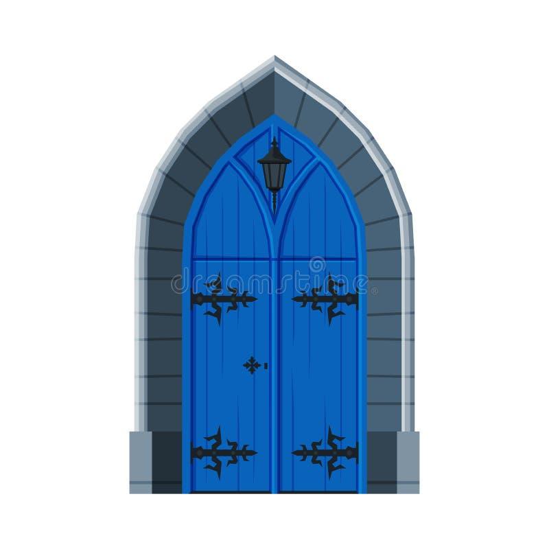 Klassiek blauw dubbel deeg, Vintage Style Facade Design Element Vector Illustratie vector illustratie