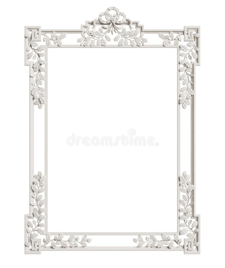 Klassiek die spiegelkader op witte achtergrond wordt geïsoleerd Digitale illustratie het 3d teruggeven stock illustratie