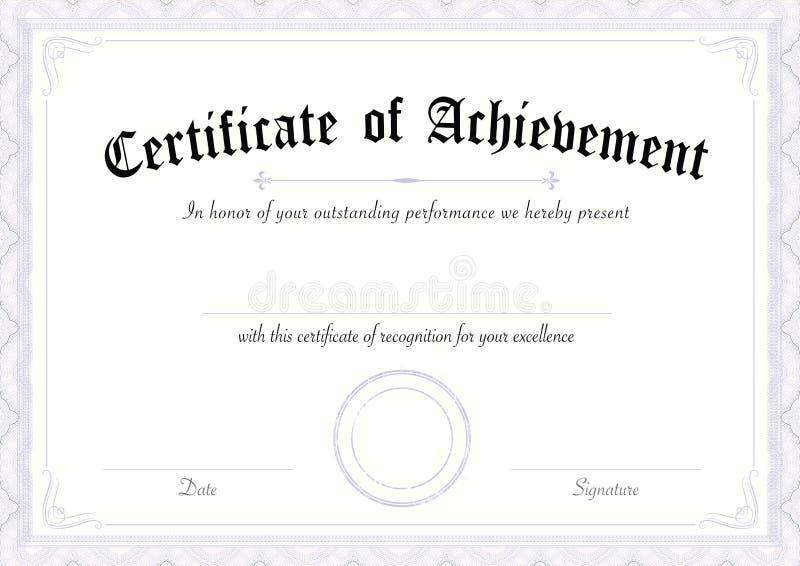 Klassiek en retro certificaat van voltooiingsdocument malplaatje blauwe grens vector illustratie