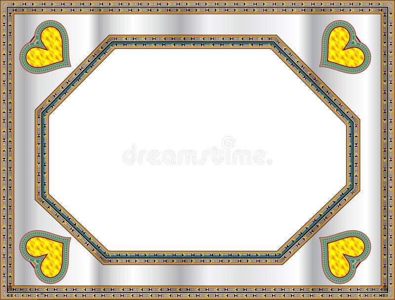Klassiek frame met hartvorm stock illustratie