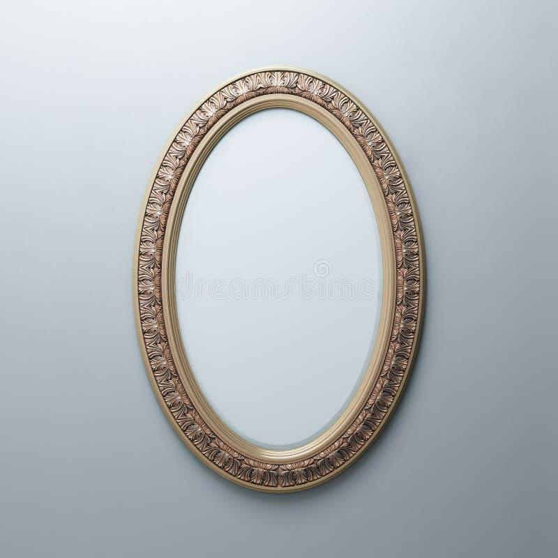 Klassiek Gouden Kader op Witte Muur (Ovale Verticale Versie) stock afbeelding