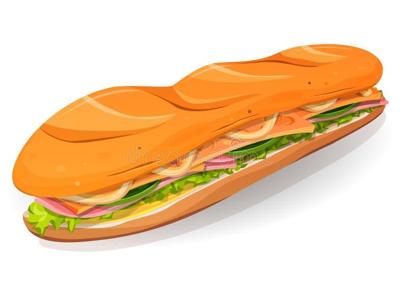 Klassiek Ham And Butter French Sandwich-Pictogram vector illustratie