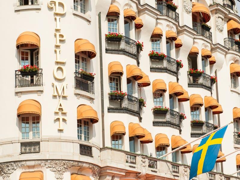Klassiek hotel in Stockholm royalty-vrije stock foto's