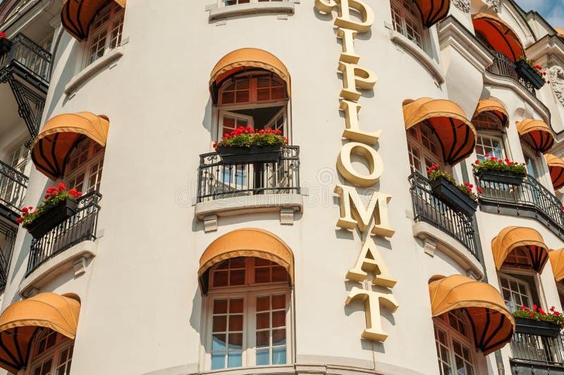Klassiek hotel in Stockholm stock foto's