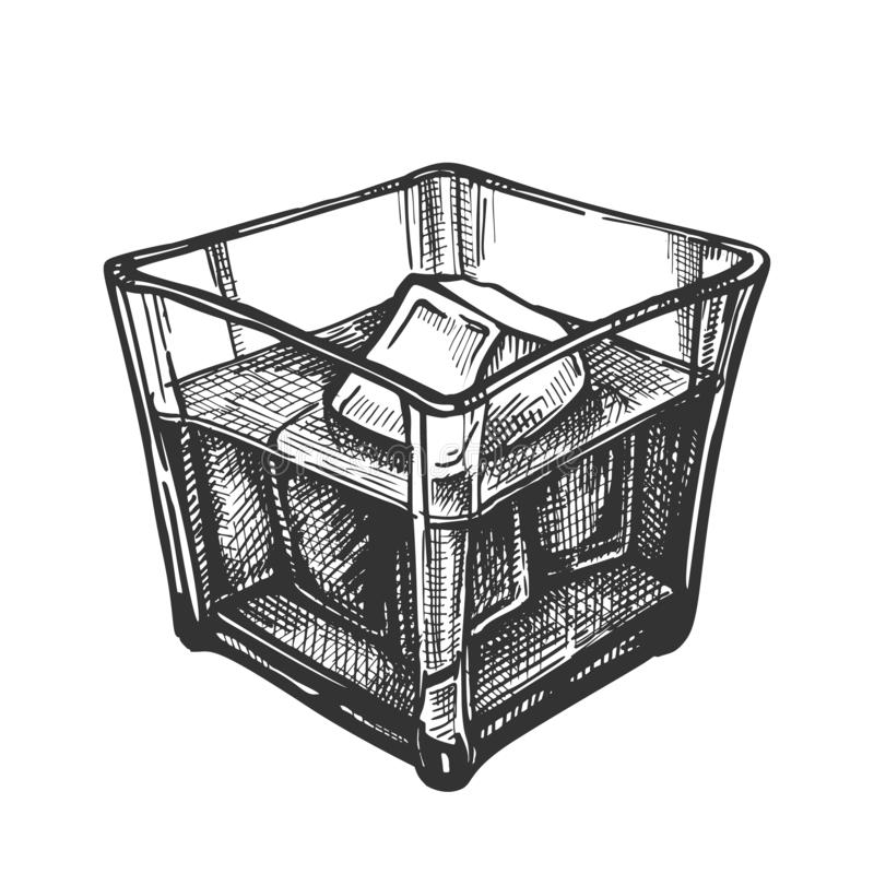 Klassiek Iers Wiskyglas en Ijsblokjesvector royalty-vrije illustratie
