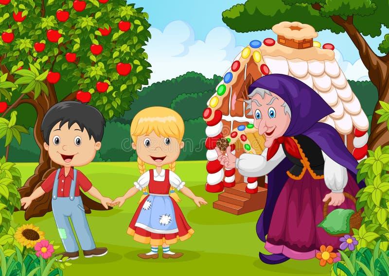 Klassiek kinderenverhaal Hansel en Gretel royalty-vrije illustratie