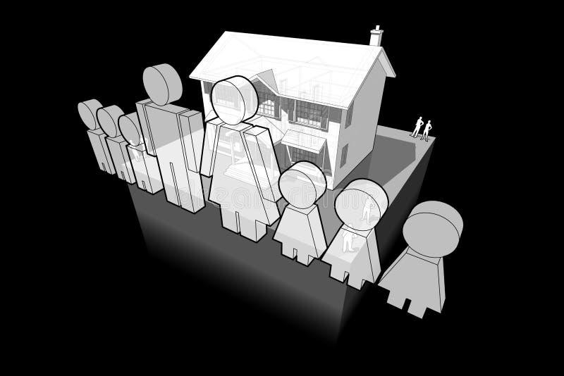 Klassiek koloniaal huis en familieteken royalty-vrije illustratie