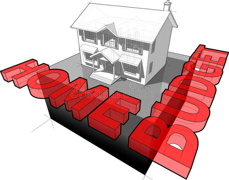 Klassiek koloniaal huis en huisbegrotingsteken vector illustratie