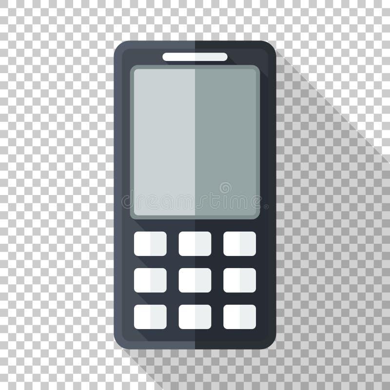 Klassiek mobiel telefoonpictogram in vlakke stijl met zwart-wit LCD vertoning op transparante achtergrond royalty-vrije illustratie