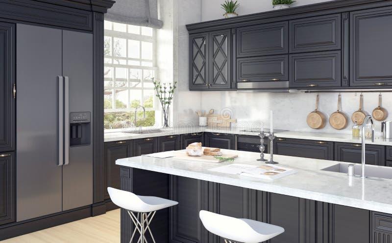 Klassiek ontwerp van keuken royalty-vrije stock afbeeldingen
