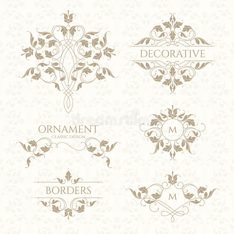 Klassiek ornament Reeks decoratieve grenzen en monogrammen royalty-vrije illustratie