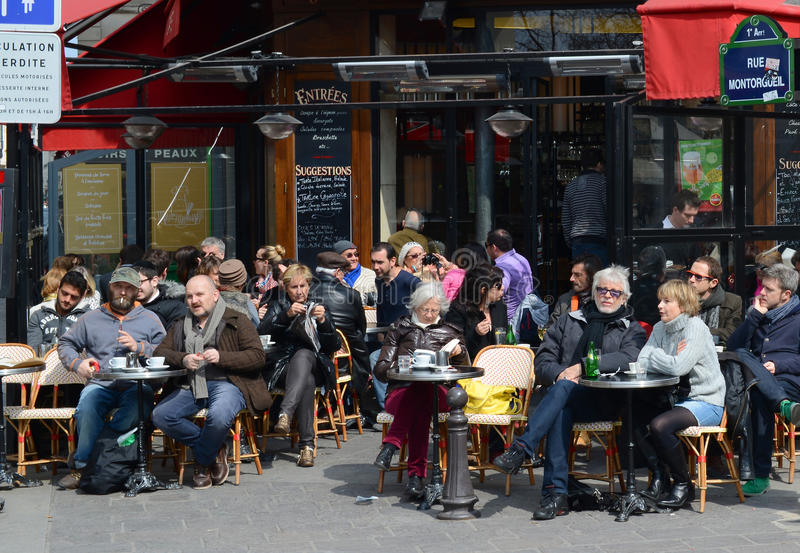 Parijse koffieterras royalty-vrije stock fotografie