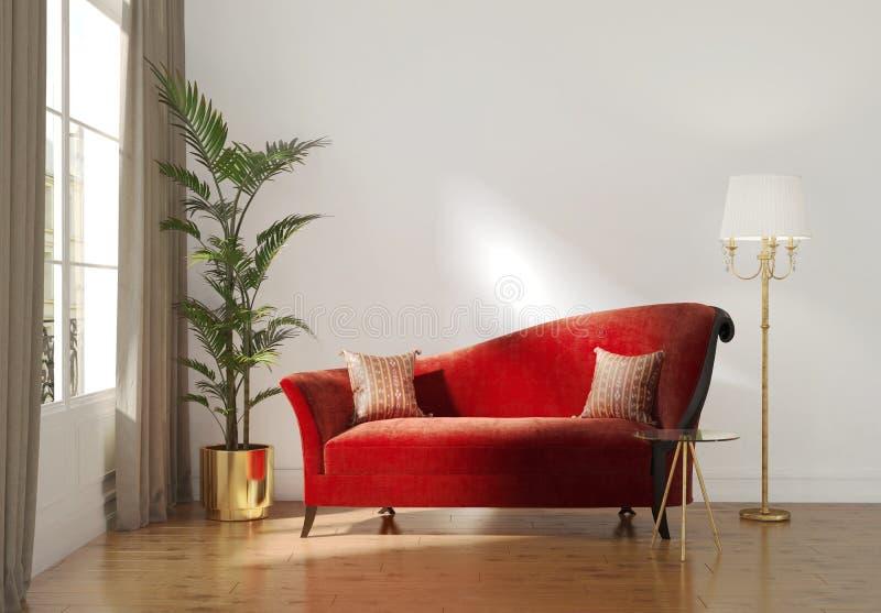 Klassiek Parijse luxebinnenland met rode chaise zitkamer royalty-vrije illustratie
