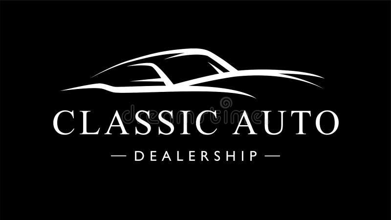 Klassiek retro auto het embleemsilhouet van de stijlsportwagen vector illustratie