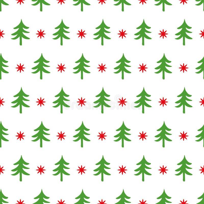 Klassiek retro naadloos Kerstmispatroon in traditionele kleuren met boom, sbowflake voor omslaggift vector illustratie