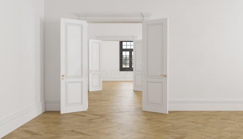 Klassiek Skandinavisch wit leeg binnenland met open deuren, parket en venster royalty-vrije illustratie