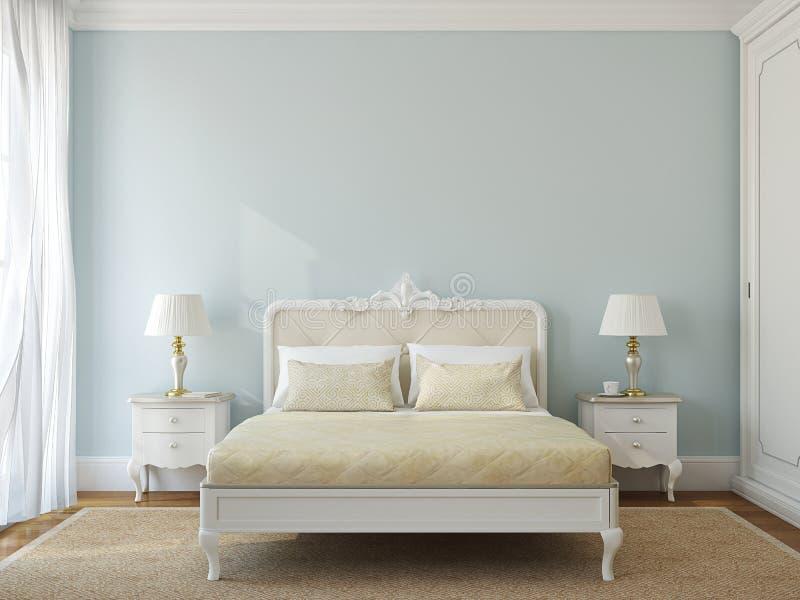 Klassiek slaapkamerbinnenland. royalty-vrije illustratie