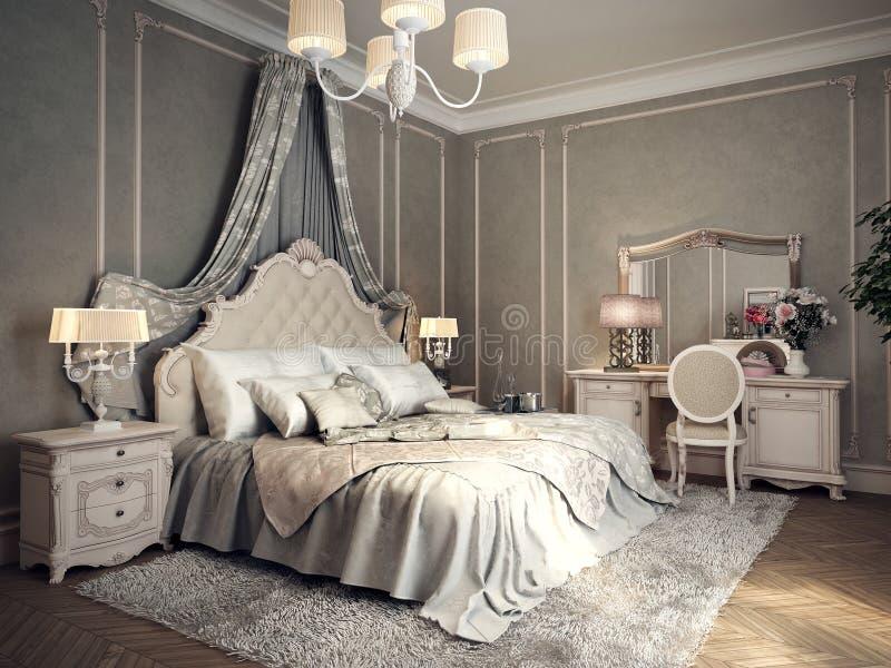 Klassiek slaapkamerbinnenland stock illustratie