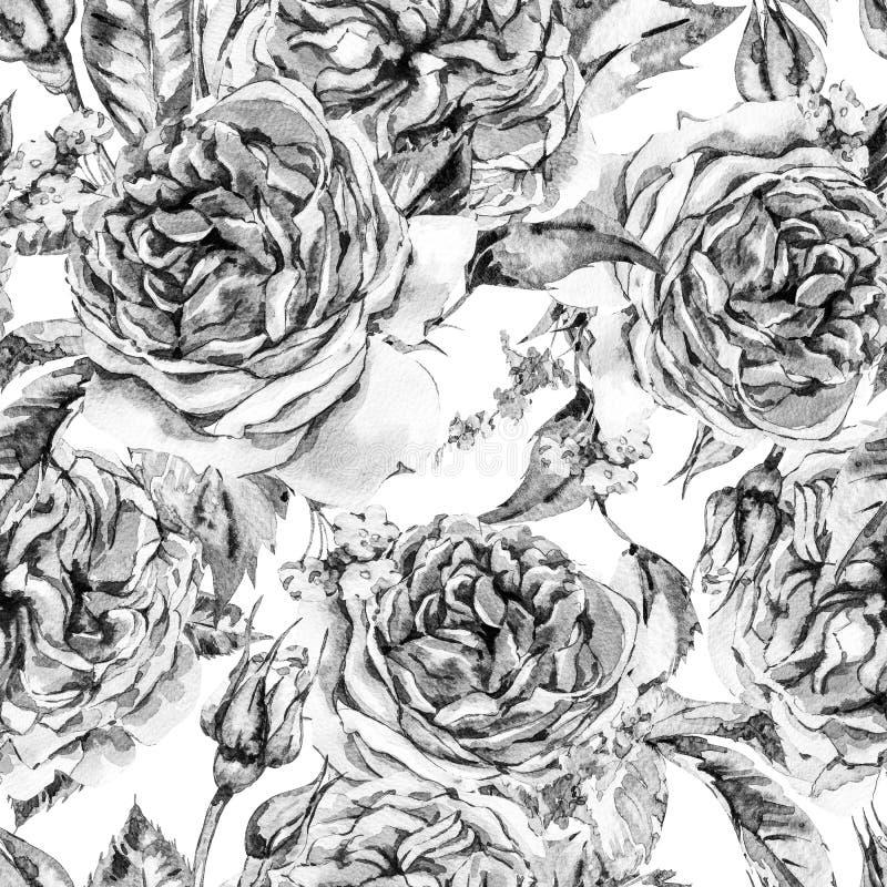 Klassiek Zwart-wit Waterverf Uitstekend Bloemen Naadloos Patroon stock illustratie