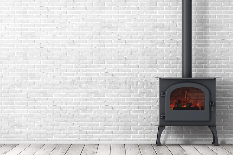 Klassieke ? pen Home Fireplace Stove with Chimney Pipe and Firewood Burning in Red Hot Flame 3d renderen vector illustratie
