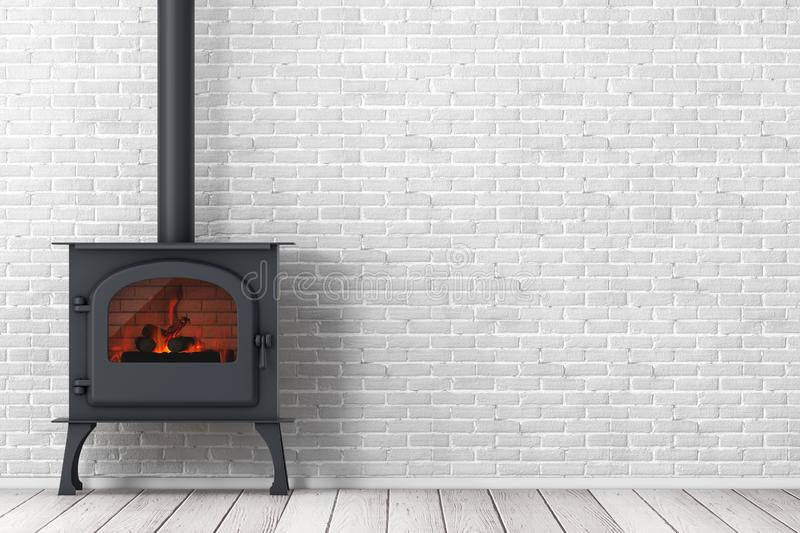 Klassieke ? pen Home Fireplace Stove with Chimney Pipe and Firewood Burning in Red Hot Flame 3d renderen stock illustratie