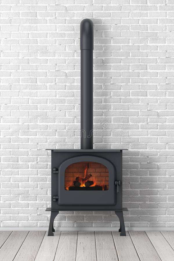 Klassieke ? pen Home Fireplace Stove with Chimney Pipe and Firewood Burning in Red Hot Flame 3d renderen royalty-vrije illustratie