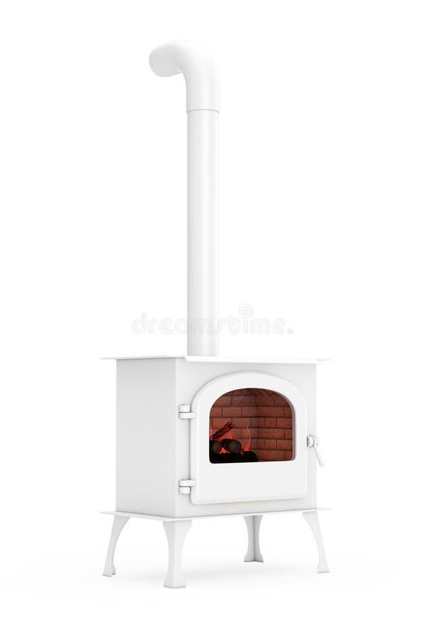Klassieke ? pen Home Fireplace Stove met Chimney Pipe en Firewood Burning in Red Hot Flame in Clay Style 3d renderen stock illustratie