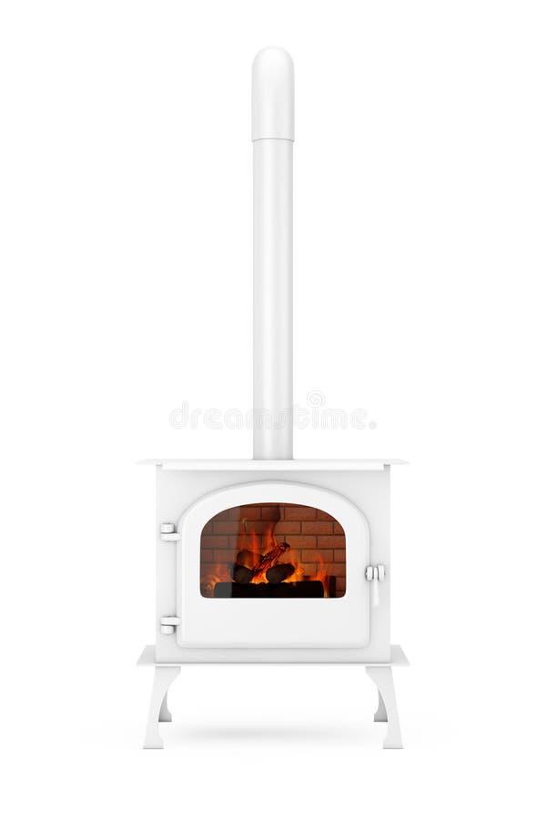 Klassieke ? pen Home Fireplace Stove met Chimney Pipe en Firewood Burning in Red Hot Flame in Clay Style 3d renderen royalty-vrije illustratie