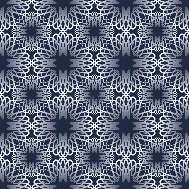 Klassieke abstracte uitstekende monolinepatronen met gradiënt op donkerblauwe achtergrond vector illustratie