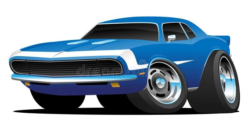 Klassieke Amerikaanse de Spierauto Heet Rod Cartoon Vector Illustration van de Jaren '60stijl royalty-vrije illustratie