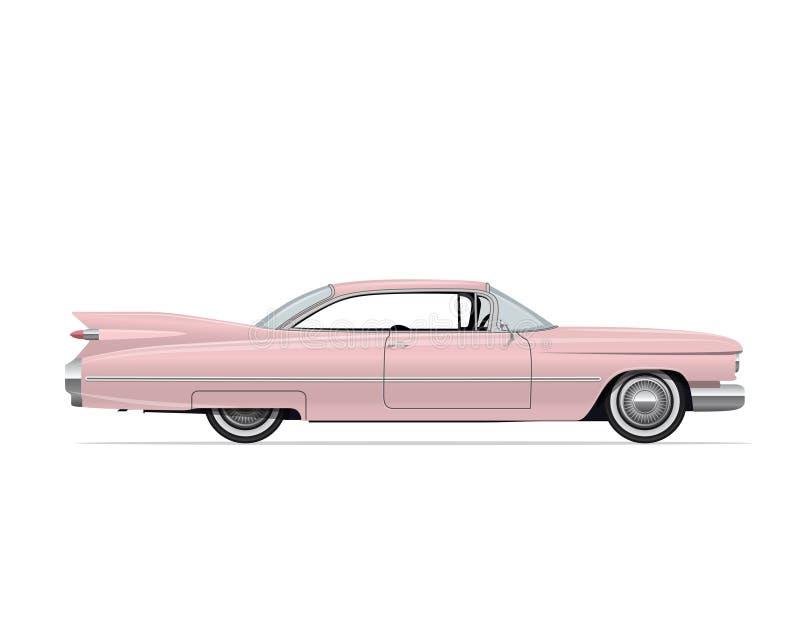 Klassieke Amerikaanse Uitstekende Roze Auto Vector illustratie vector illustratie