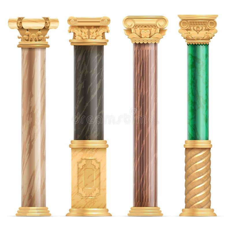Klassieke Arabische architectuur gouden kolommen met vector geïsoleerde reeks van de steen de marmeren pijler royalty-vrije illustratie