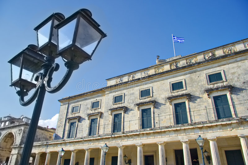 Klassieke architectuur op het eiland van Korfu stock foto's