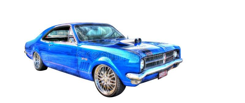Klassieke Australische die jaren '70 Holden GTS Monaro op een witte achtergrond wordt geïsoleerd stock foto