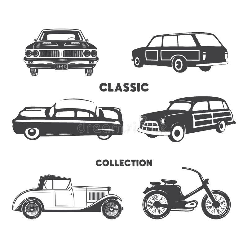 Klassieke auto's, uitstekende autopictogrammen, geplaatste symbolen Uitstekende hand getrokken auto's, spier, motorfietselementen stock illustratie