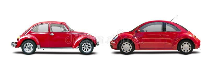 Klassieke auto versus nieuwe auto stock foto's