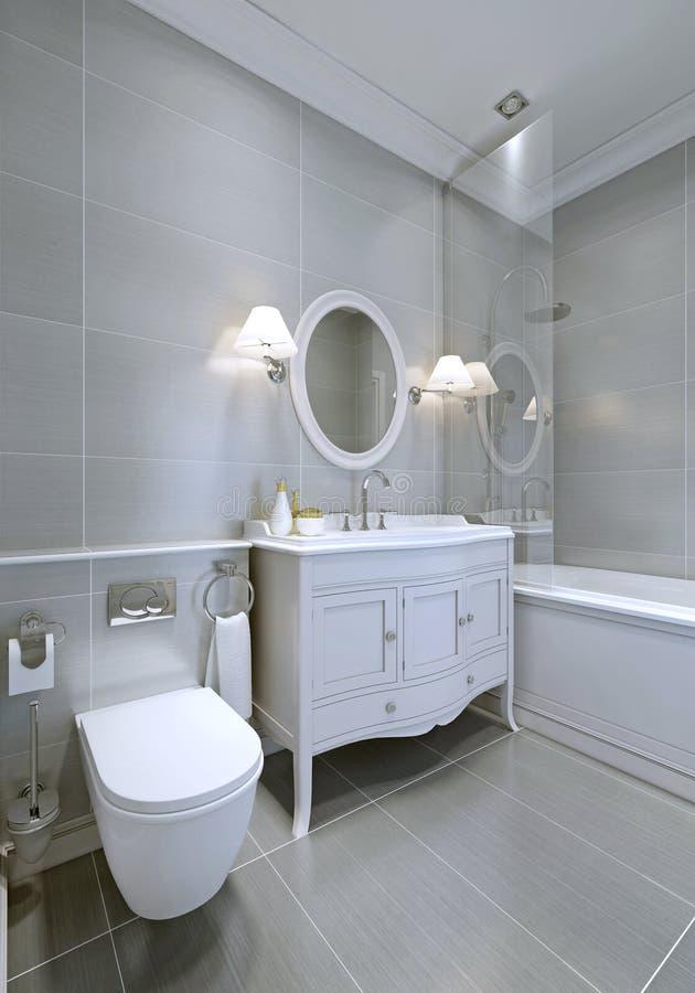 Klassieke Badkamers In Grijze Kleur Stock Afbeelding - Afbeelding ...
